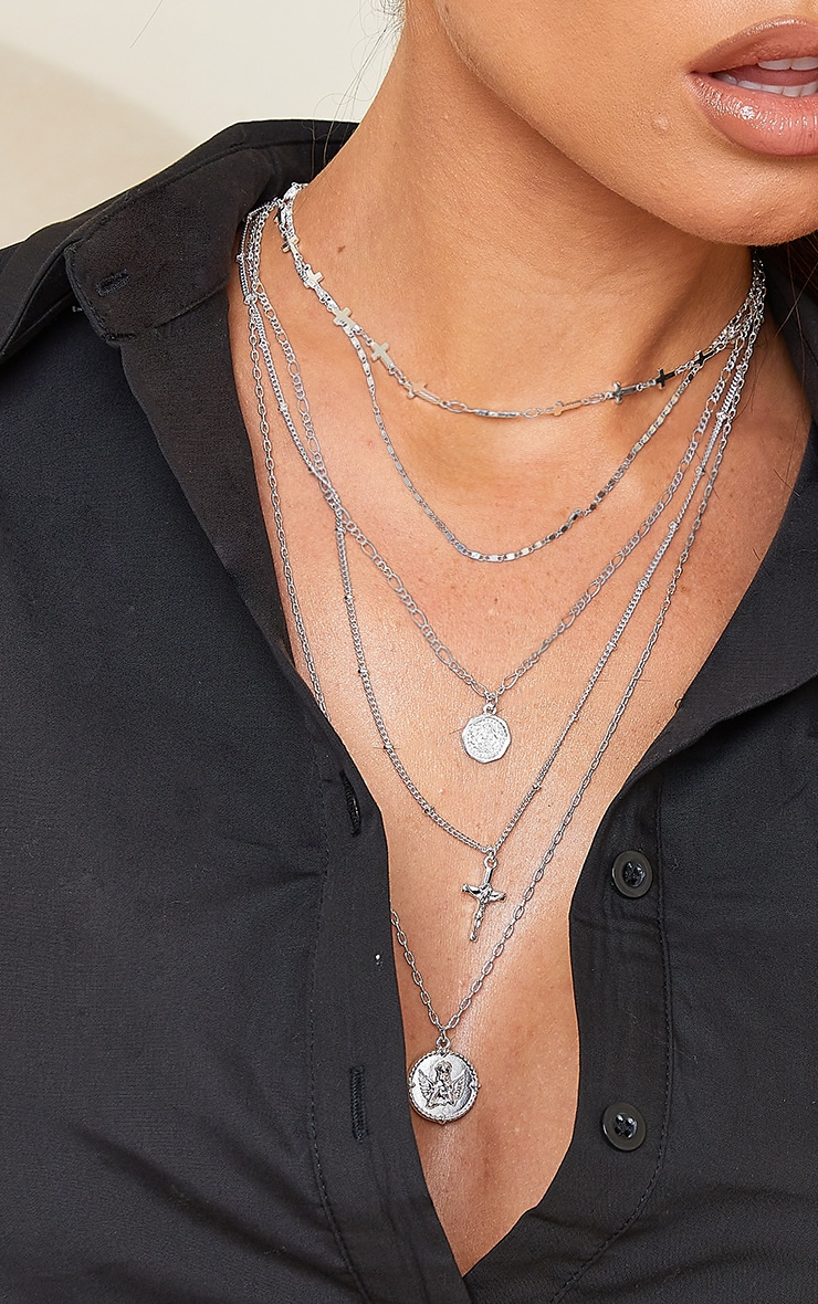 Silver Cross And Cherub Layering Necklace 2