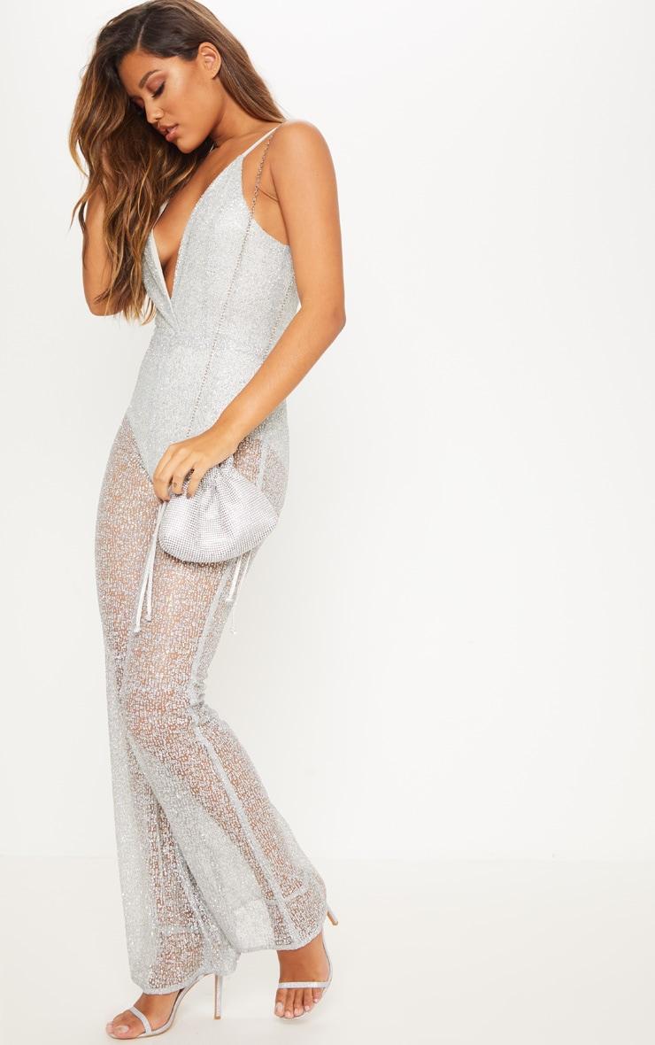Silver Glitter Mesh Plunge Jumpsuit 5