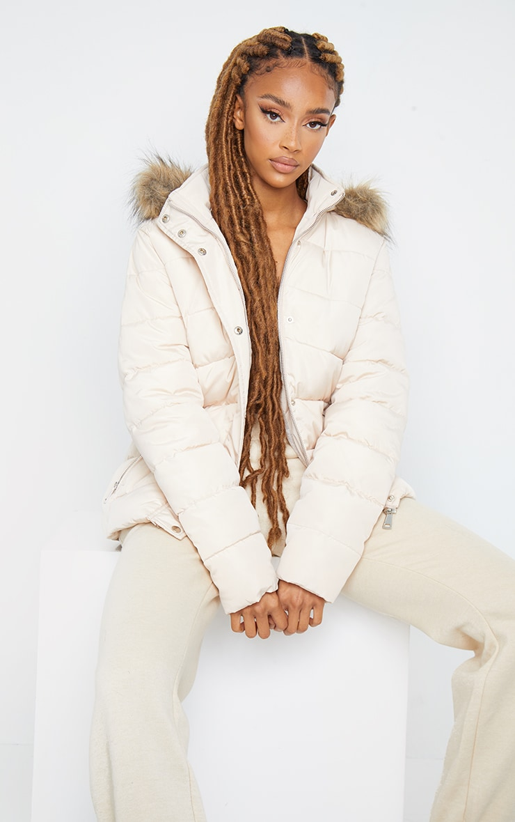 Stone Quilted Mara Faux Fur Hooded Puffer Jacket