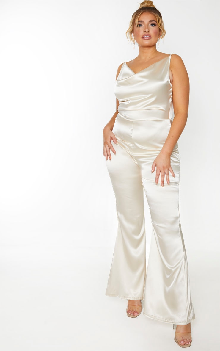 Plus Champagne Cowl Neck Satin Flared Jumpsuit 1