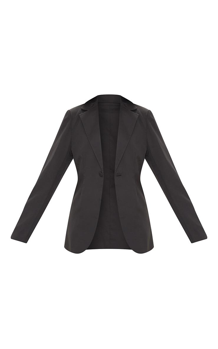 Black Woven Cinched Curve Hem Blazer 5
