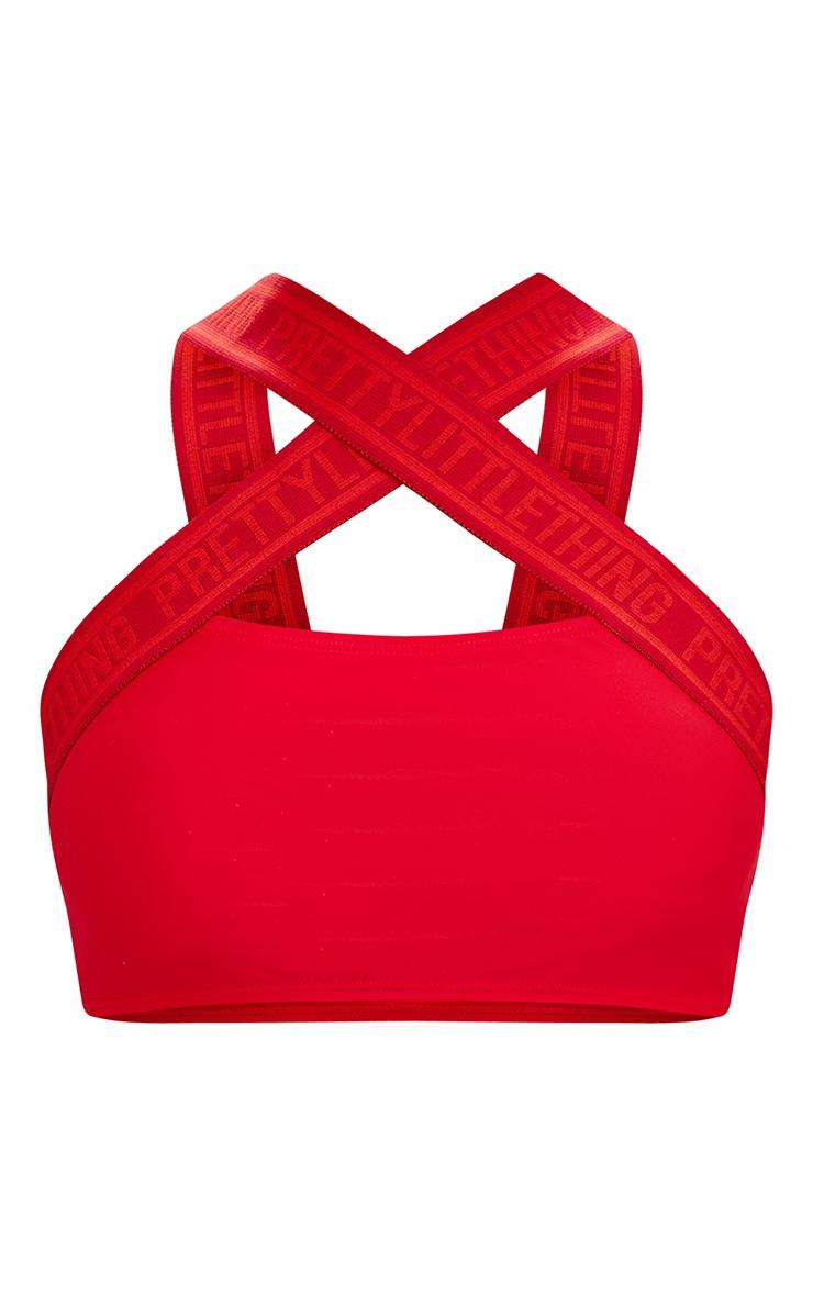 PRETTYLITTLETHING Red Cross Strap Bikini Top 3