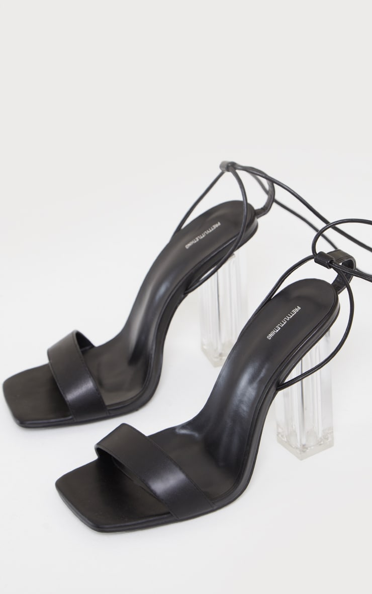Black Wide Fit Pu Lace Up High Clear Block Heels 3