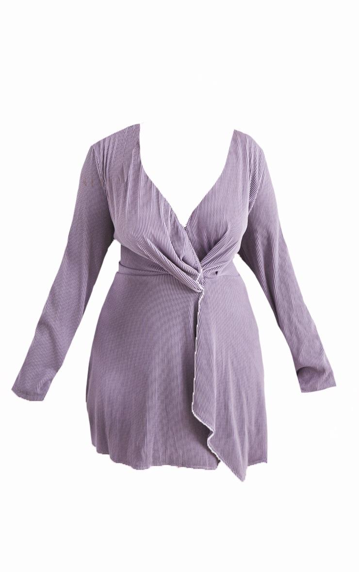 Plus Lilac Wrap Plisse Dress 5