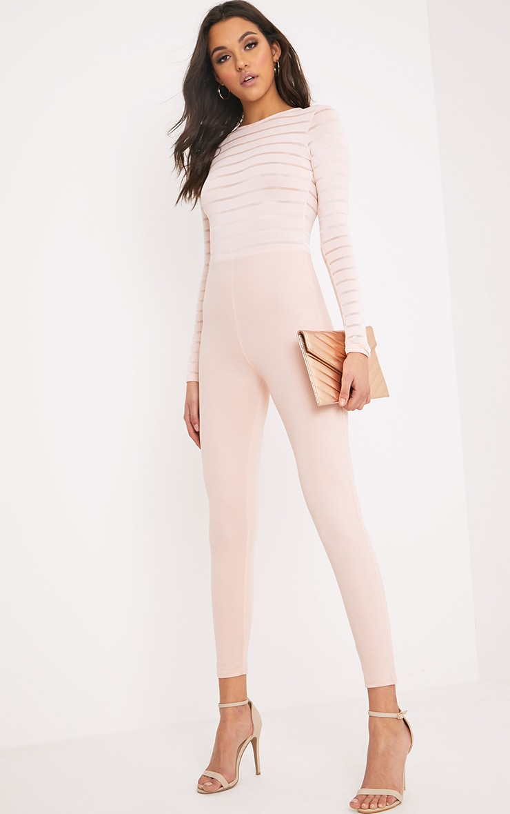 Polly Nude Burn Out Mesh Jumpsuit 4