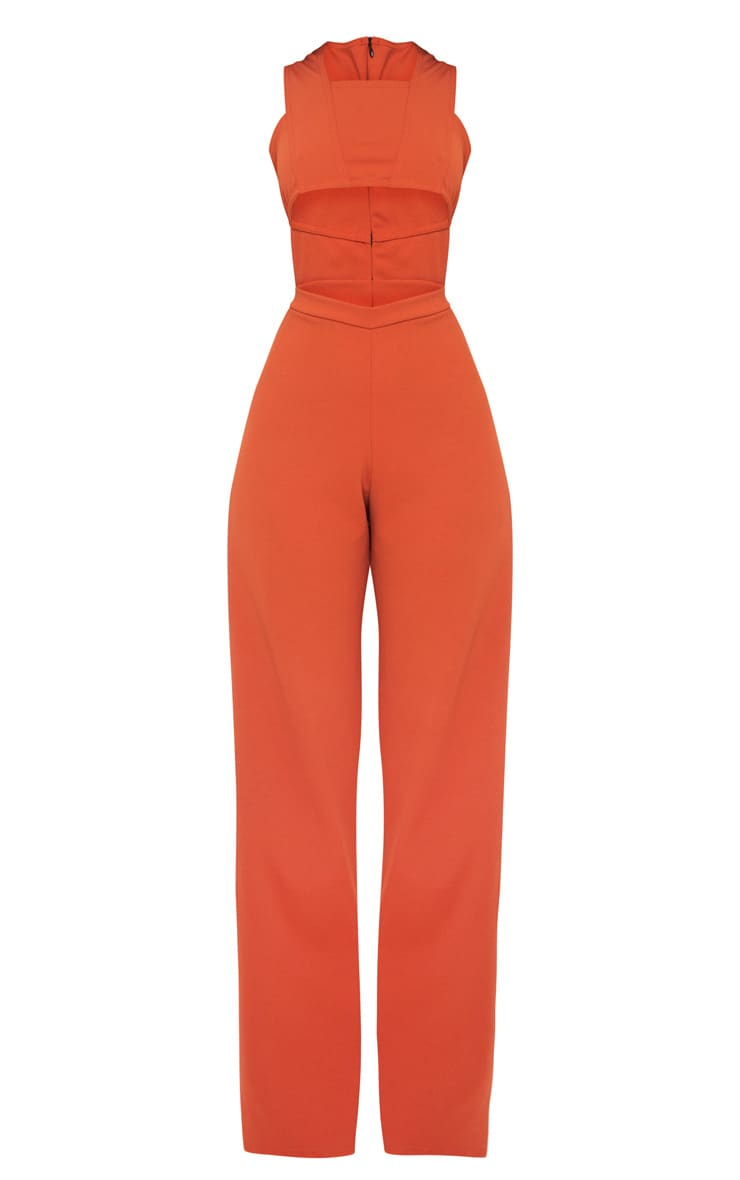 Rust Crepe Cut Out Jumpsuit 3