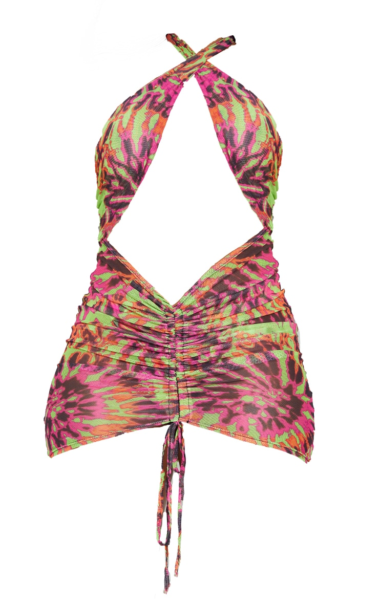 Lime Tie Dye Ruched Front Halterneck Beach Dress 5