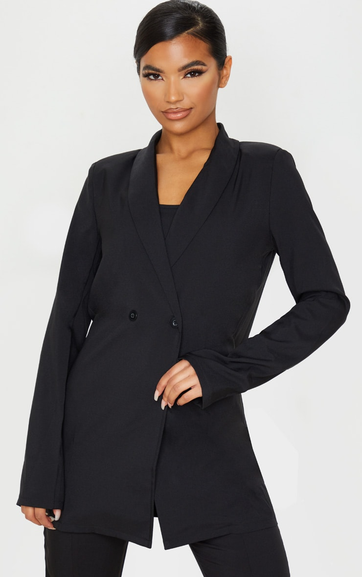 Black Shoulder Pad Double Button Blazer 1