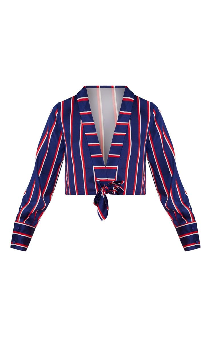 Navy Tie Front Stripe Crop Blouse  3