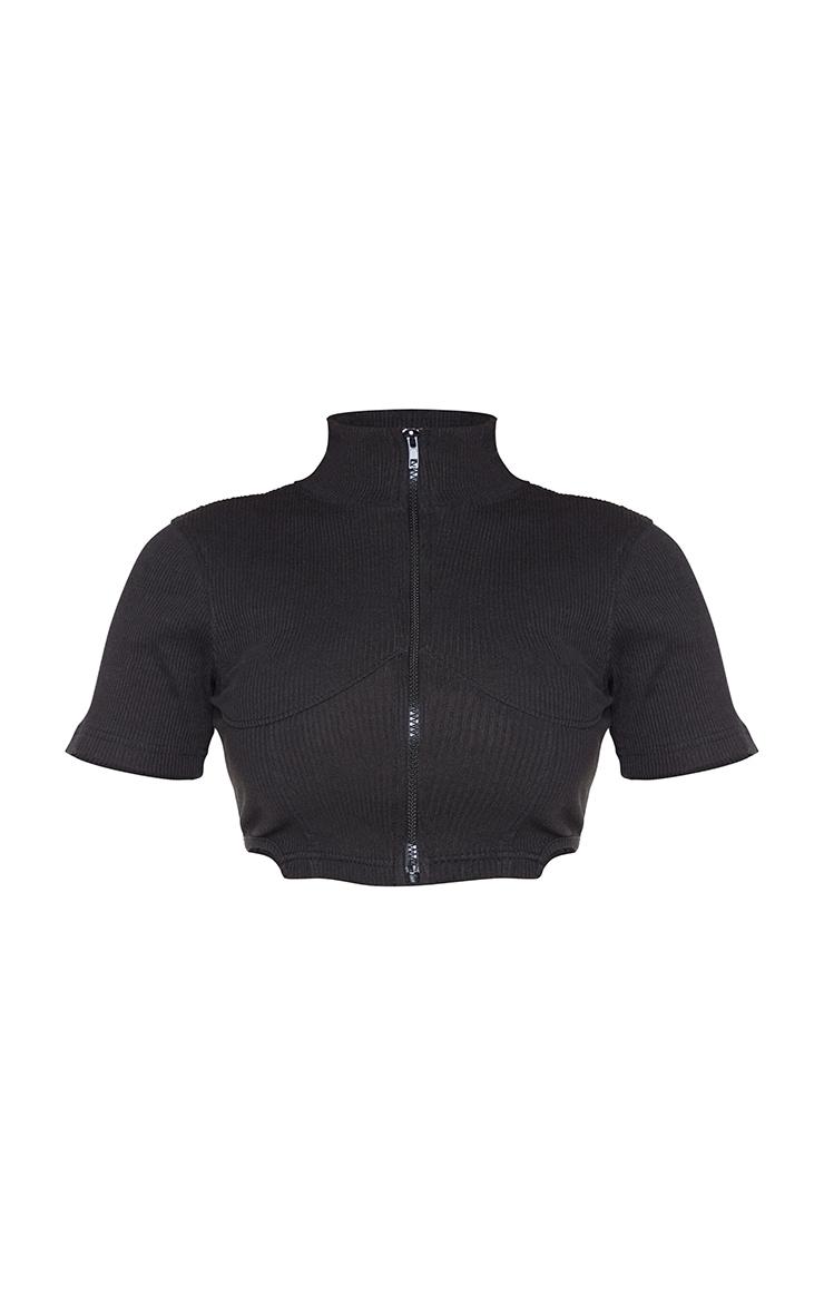 Shape Black Rib Corset Detail Zip Front Crop Top 5