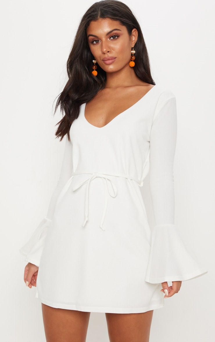 White Flared Sleeve Tie Detail Shift Dress 1