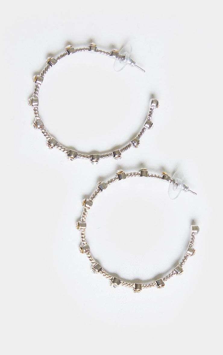 Silver Diamante Inset Large Hoop Earrings 2