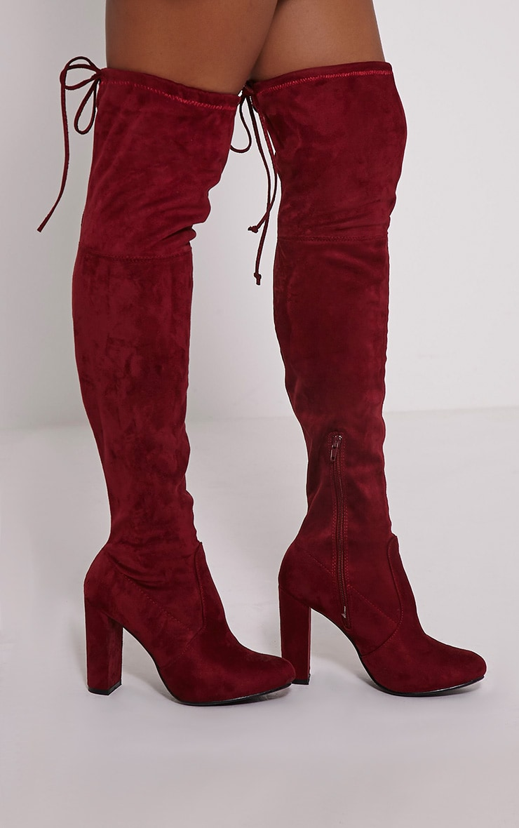 Lorda Burgundy Faux Suede Over The Knee Boots 1