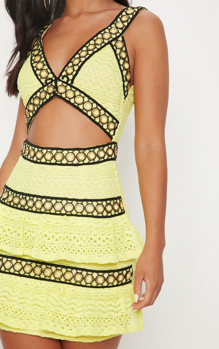 Neon Yellow Lace Contrast Eyelet Trim Tiered Bodycon Dress 5