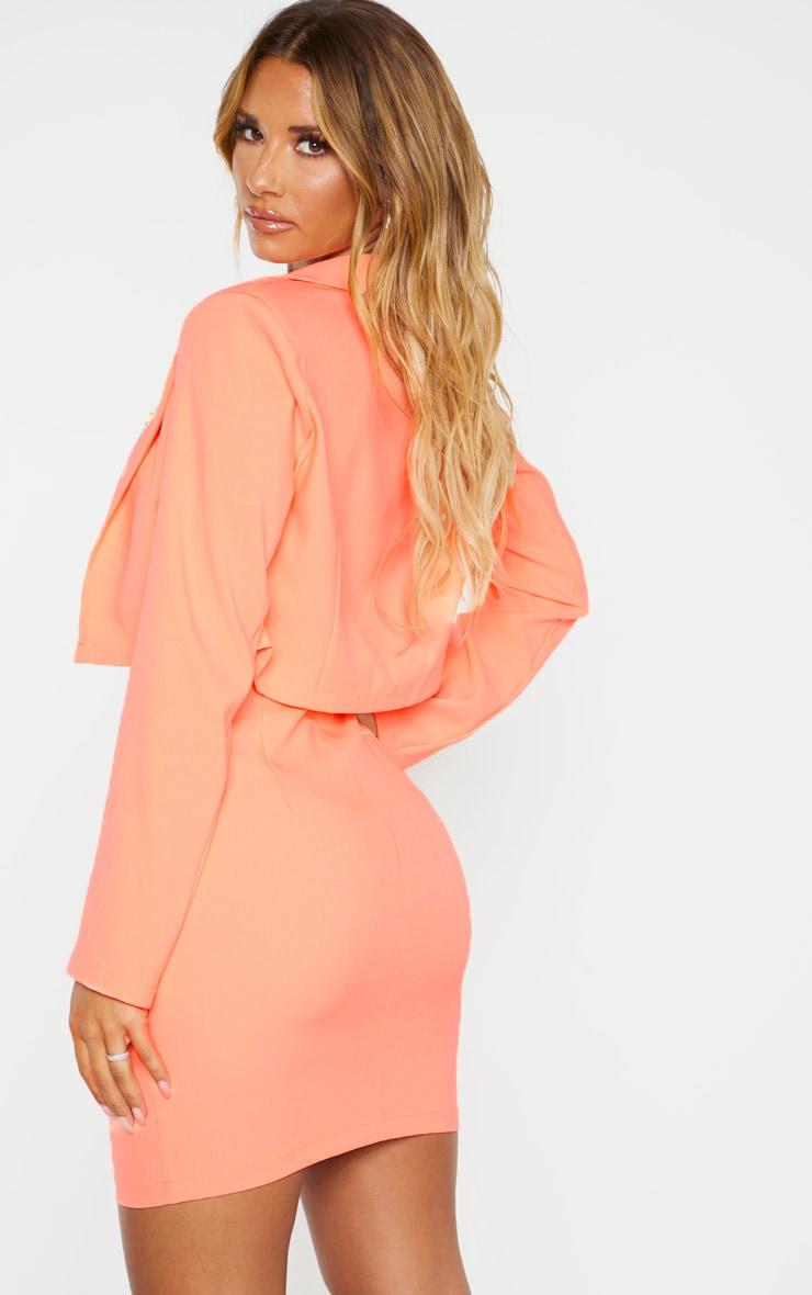 Neon Peach Cropped Woven Blazer    2