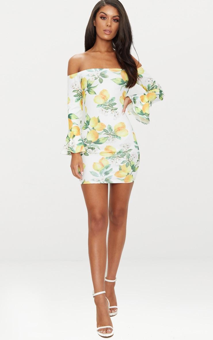 White Lemon Print Bardot Flared Sleeve Bodycon Dress 4
