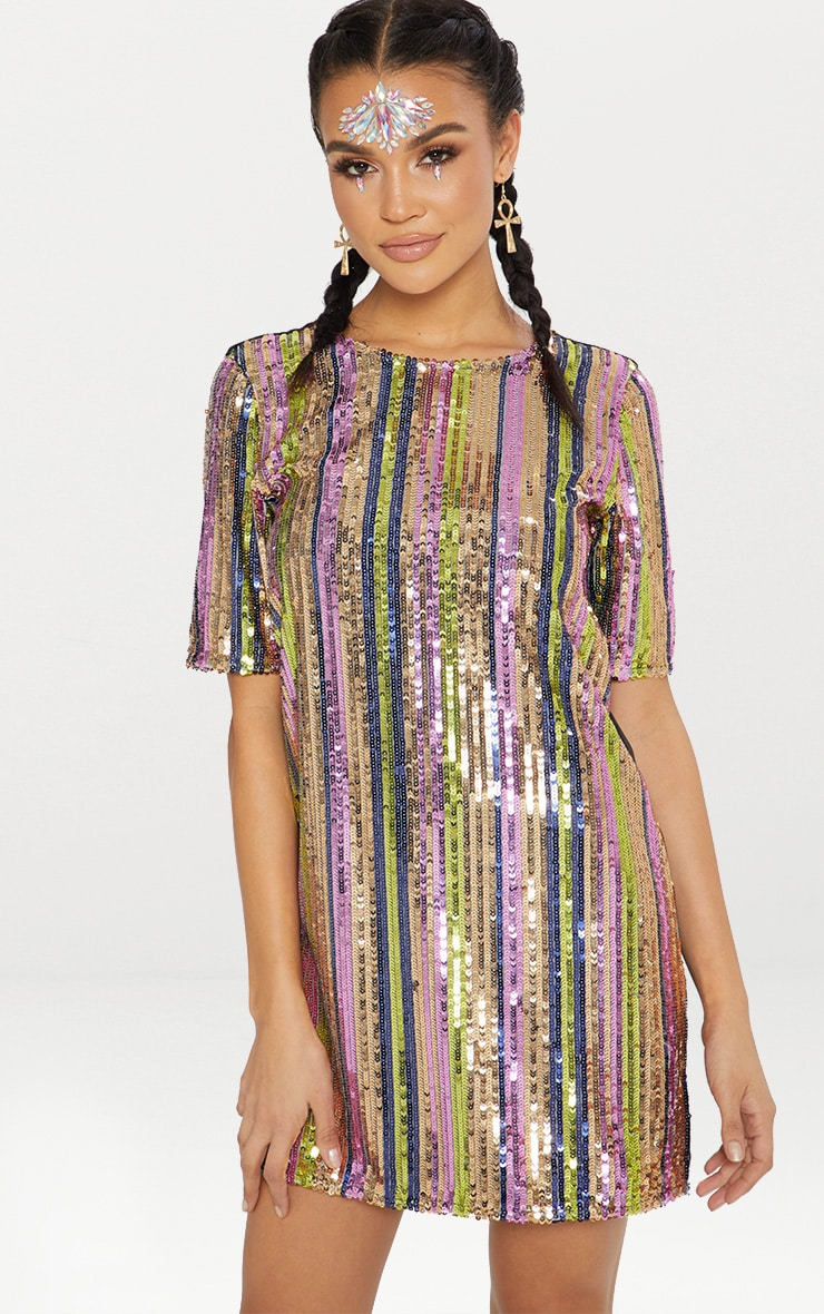 Pink Stripe Sequin T Shirt Dress  1