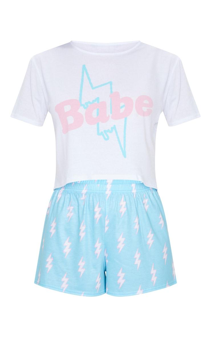Baby Blue Babe Lightning Bolt Print Short PJ Set 5