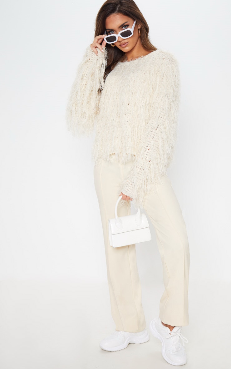 Stone Fluffy Knit Cropped Jumper 1