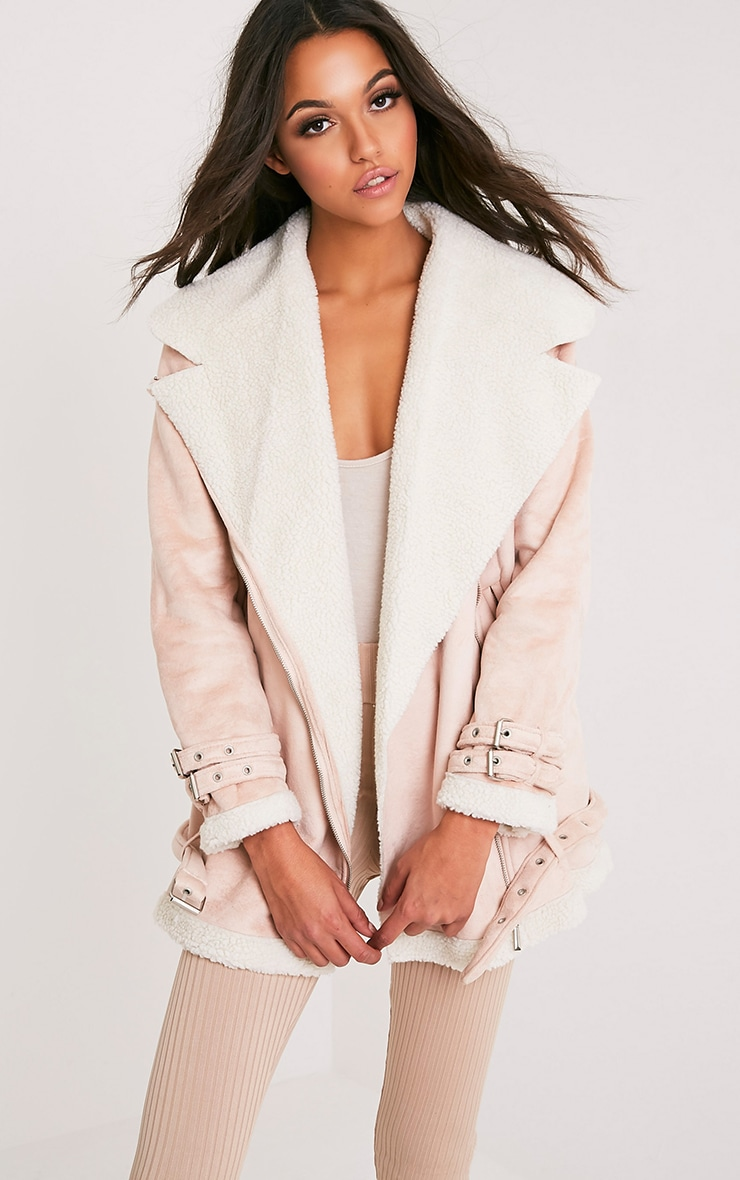 Simmi Blush Faux Suede Oversized Aviator Jacket 1