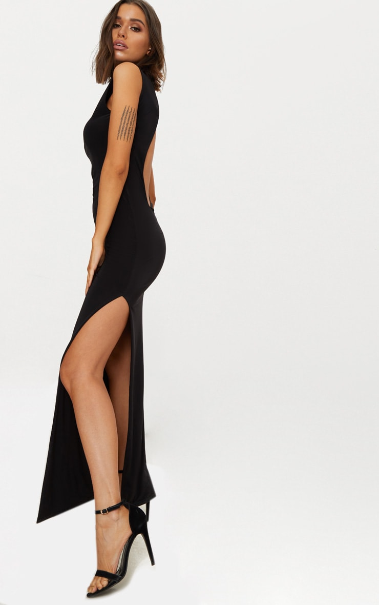 Black Slinky Cut Out Back Maxi Dress 4