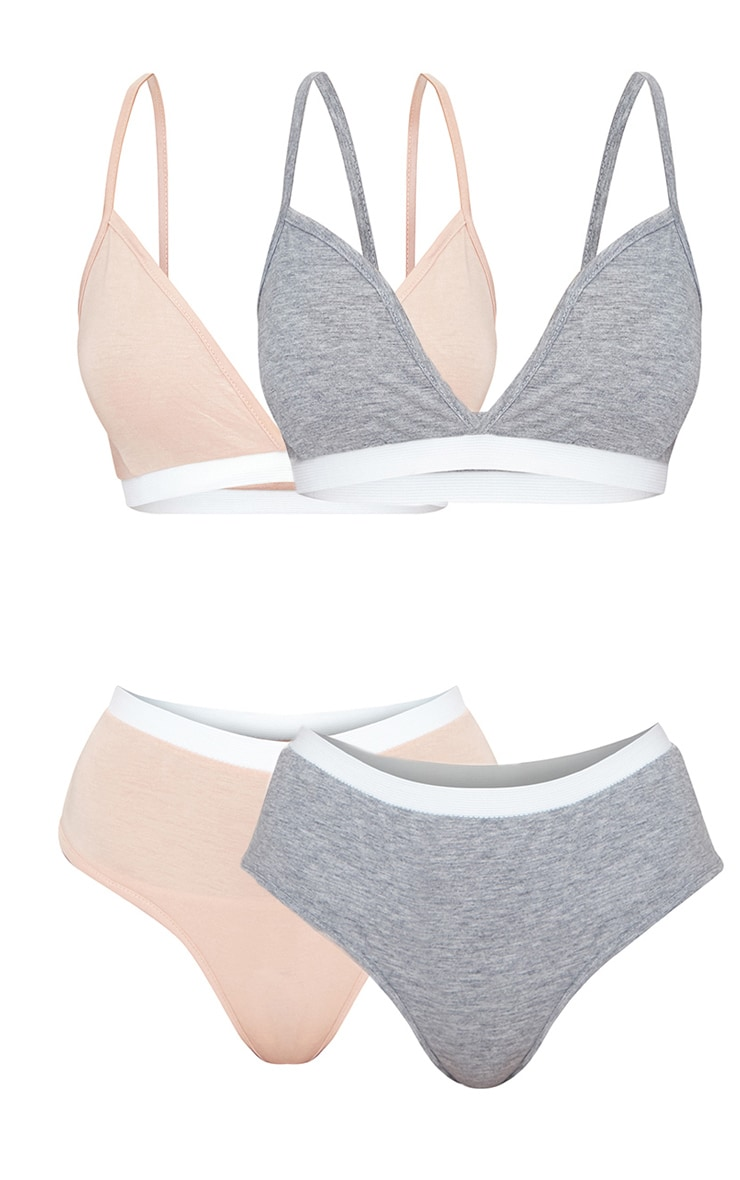2 Pack Nude & Grey Basic Jersey Bra And Panties Set 6