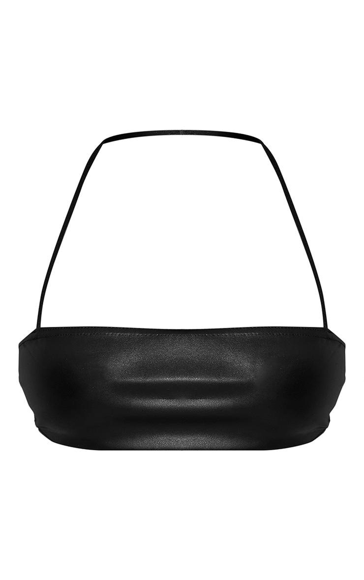 Black Faux Leather Cross Front Halterneck Bandeau Top 5