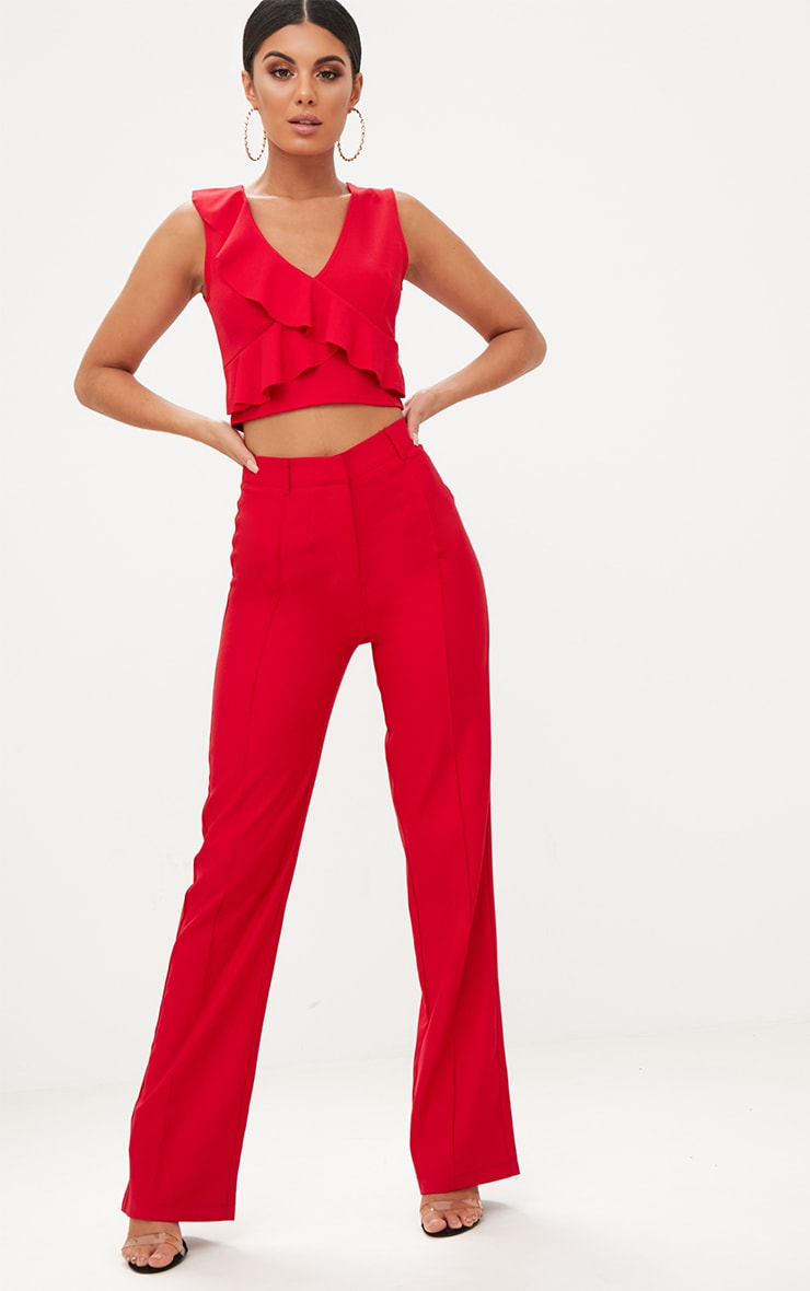 Red Wrap Frill Crop Top  4