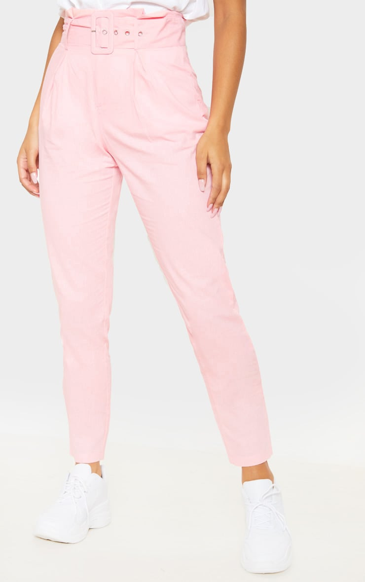 Pastel Pink Belted Paperbag Tapered Trouser 2