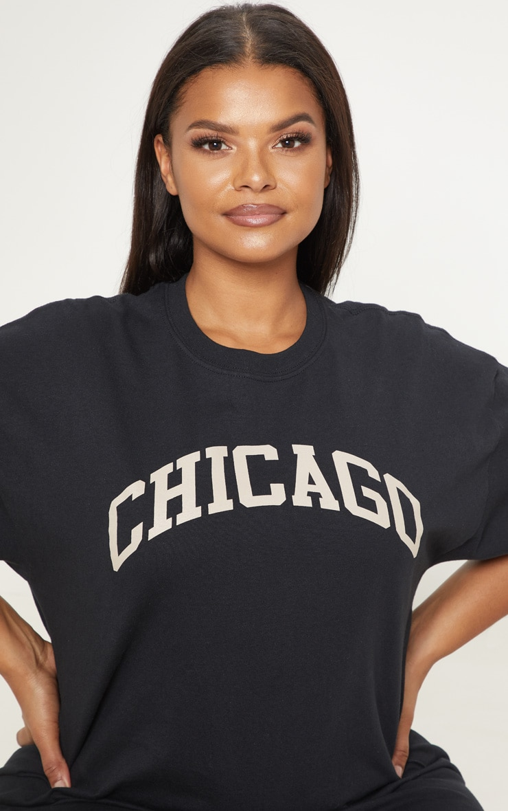 Plus Black Chicago Oversized Slogan T Shirt 5