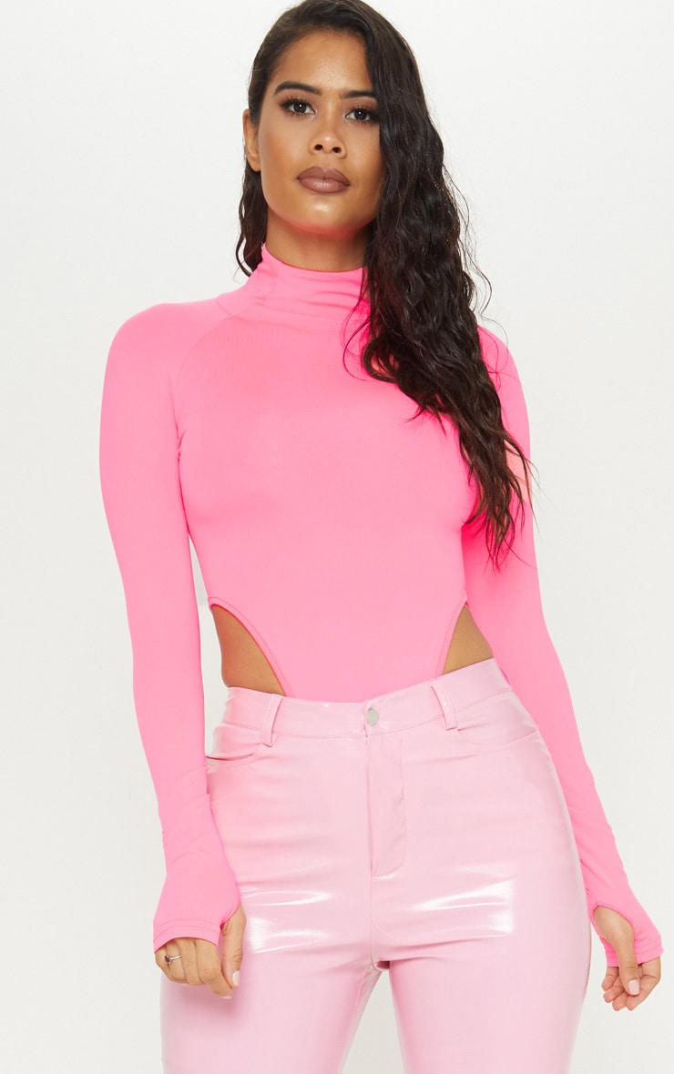 Neon Pink Slinky High Neck Long Sleeve Bodysuit image 1 d9f881783