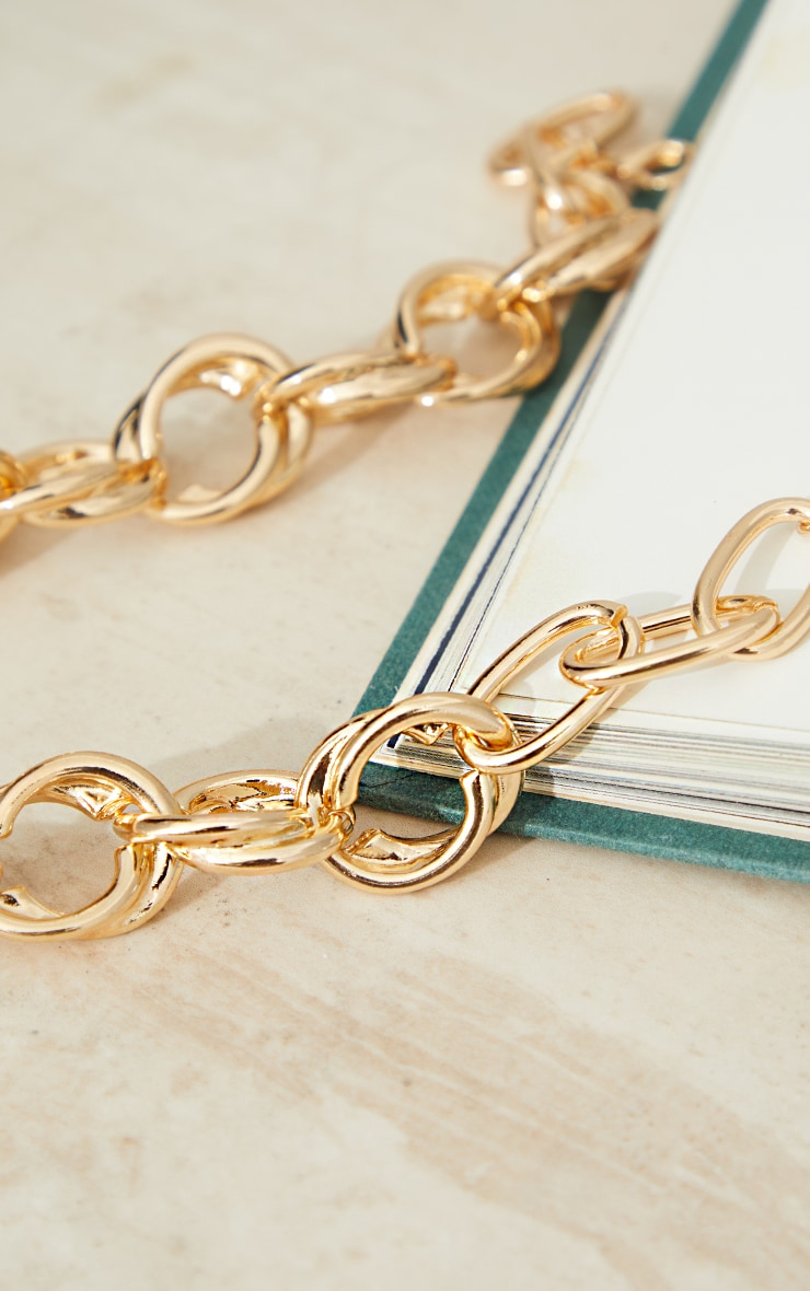 Gold Double Hoop Chain Necklace 4