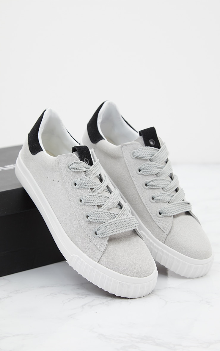 Grey Suedette Lace Up Trainer 7