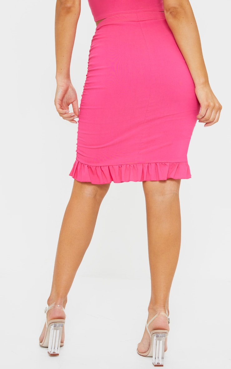 Hot Pink Woven Stretch Ruched Side Frill Hem Bodycon Skirt 3