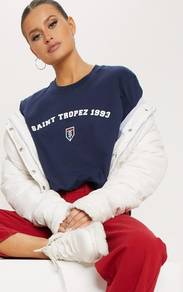 Navy Saint Tropez Print Oversized T shirt 1