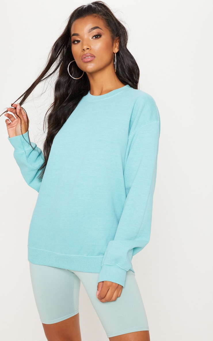 fb53bf5aa75 PRETTYLITTLETHING. SAGE BLUE ULTIMATE OVERSIZED SWEATER