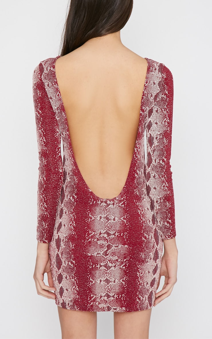 Moki Red Glitter Snake Print Mini Dress 2