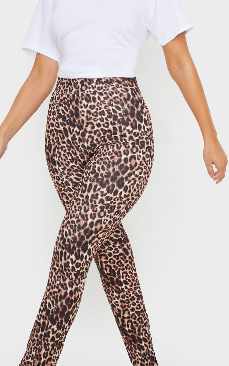 Stone Leopard Split Hem Skinny Pants 5