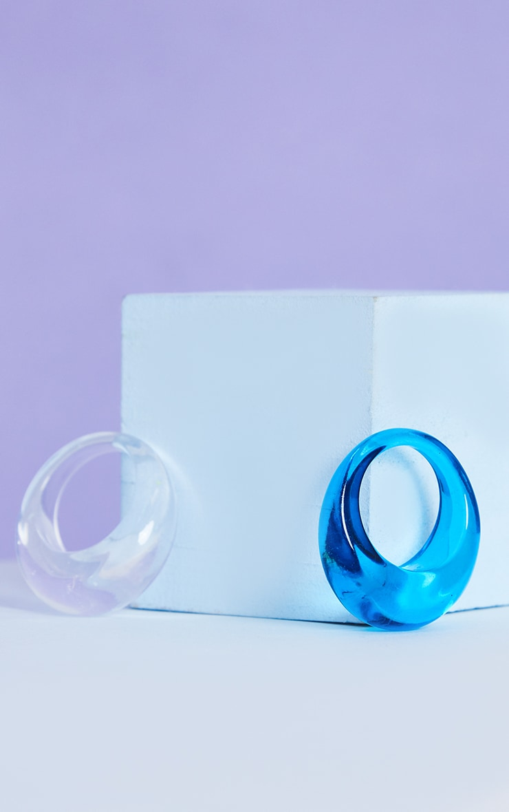 Blue And Clear 2 Pack Resin Rings 2