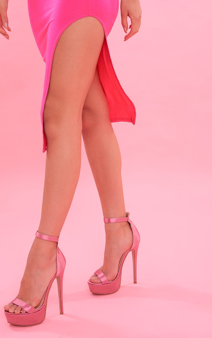 Hot Pink Bandeau Split Front Midi Dress 6