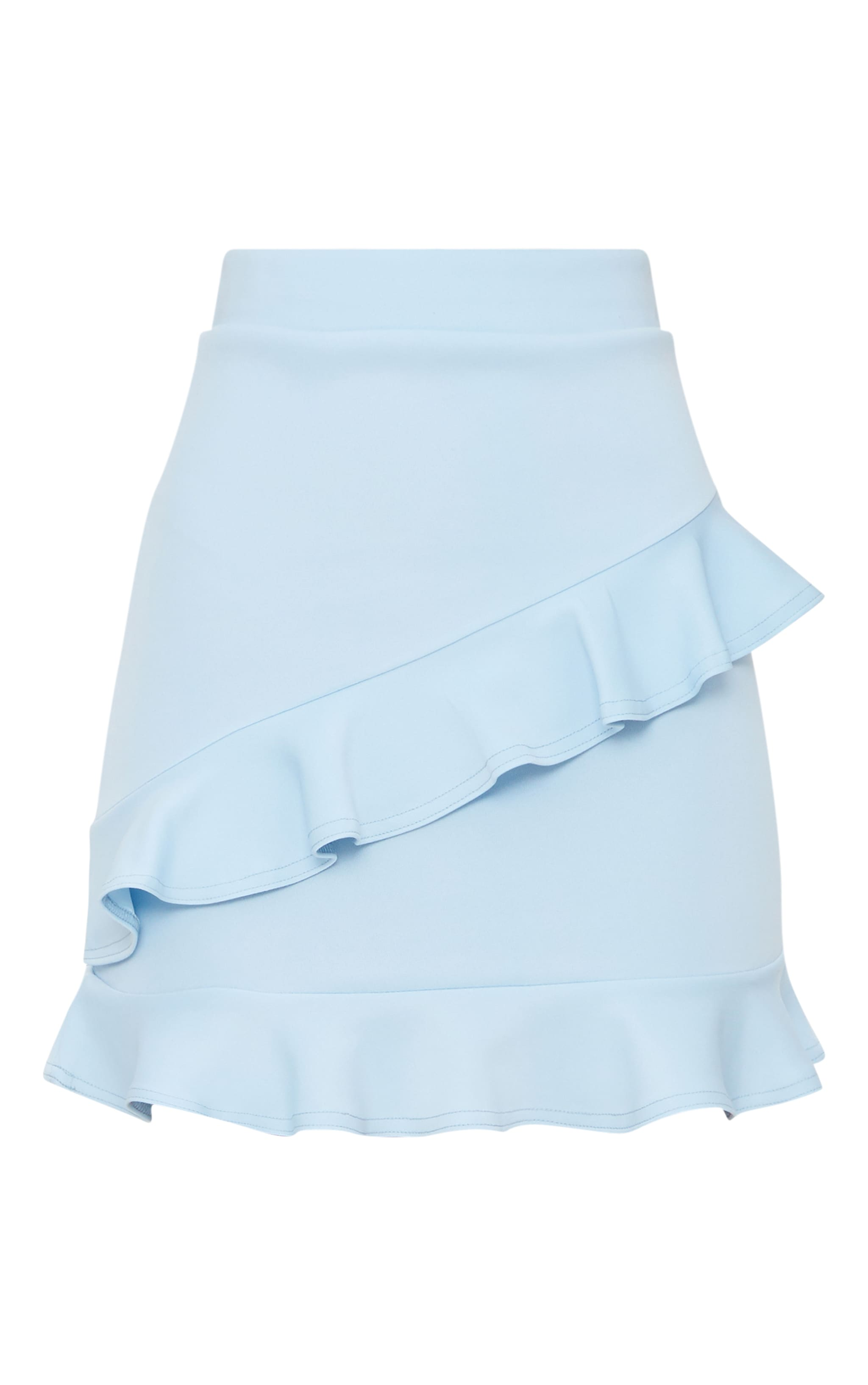 Blue Scuba Double Frill Mini Skirt 3