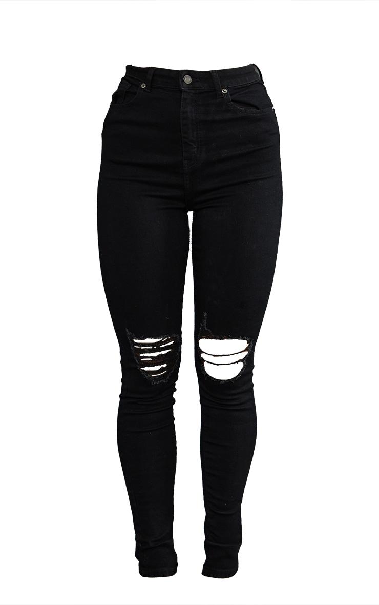 PRETTYLITTLETHING Black 5 Pocket Knee Rip Skinny Jean 5