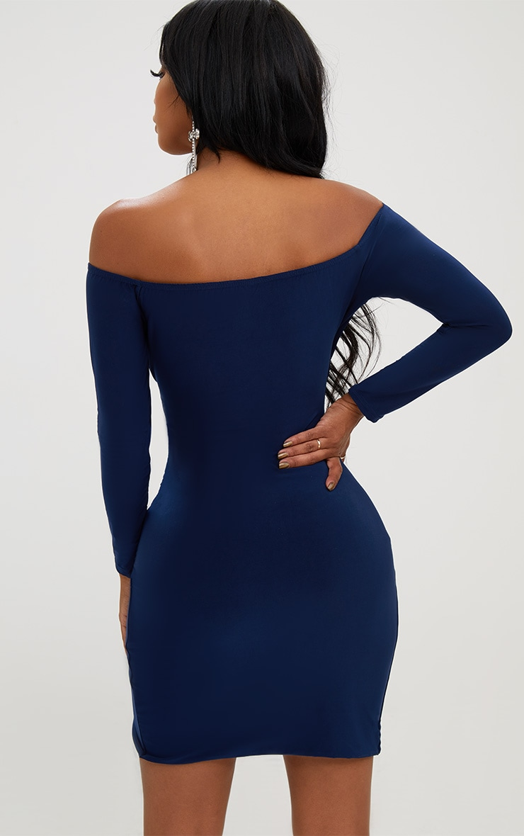 Shape Navy Ruched Bardot Bodycon Dress 2