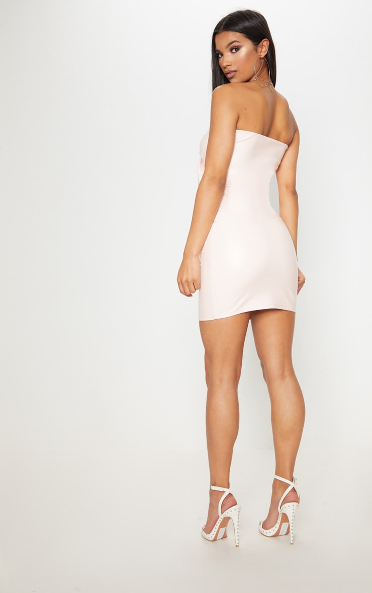 Nude PU Tie Front Cut Out Bodycon Dress 2