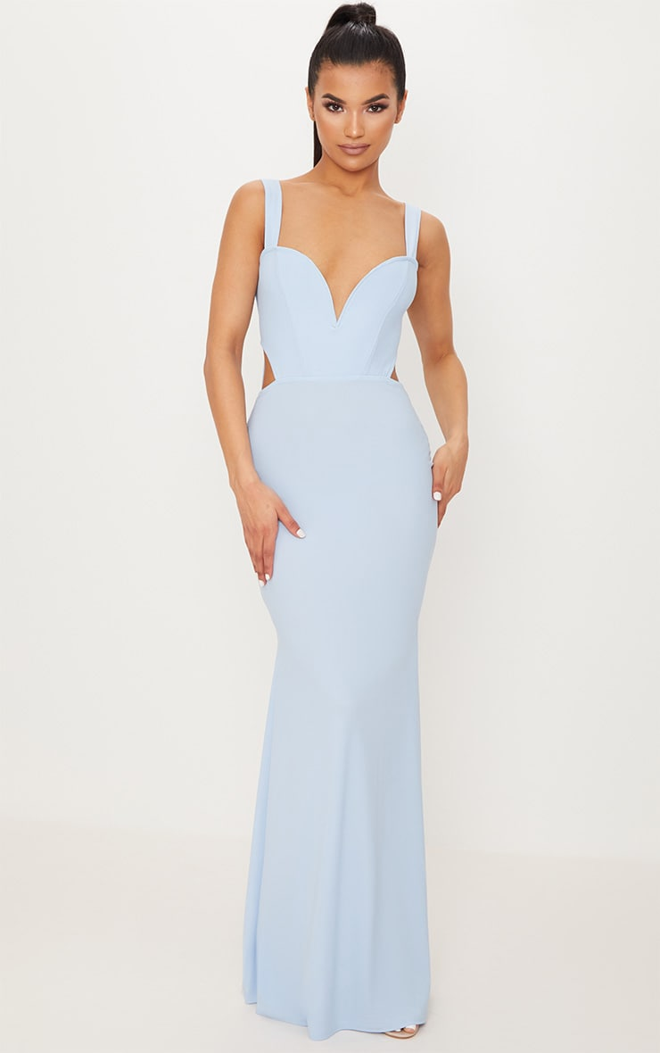 Dusty Blue Backless V Bar Maxi Dress 1