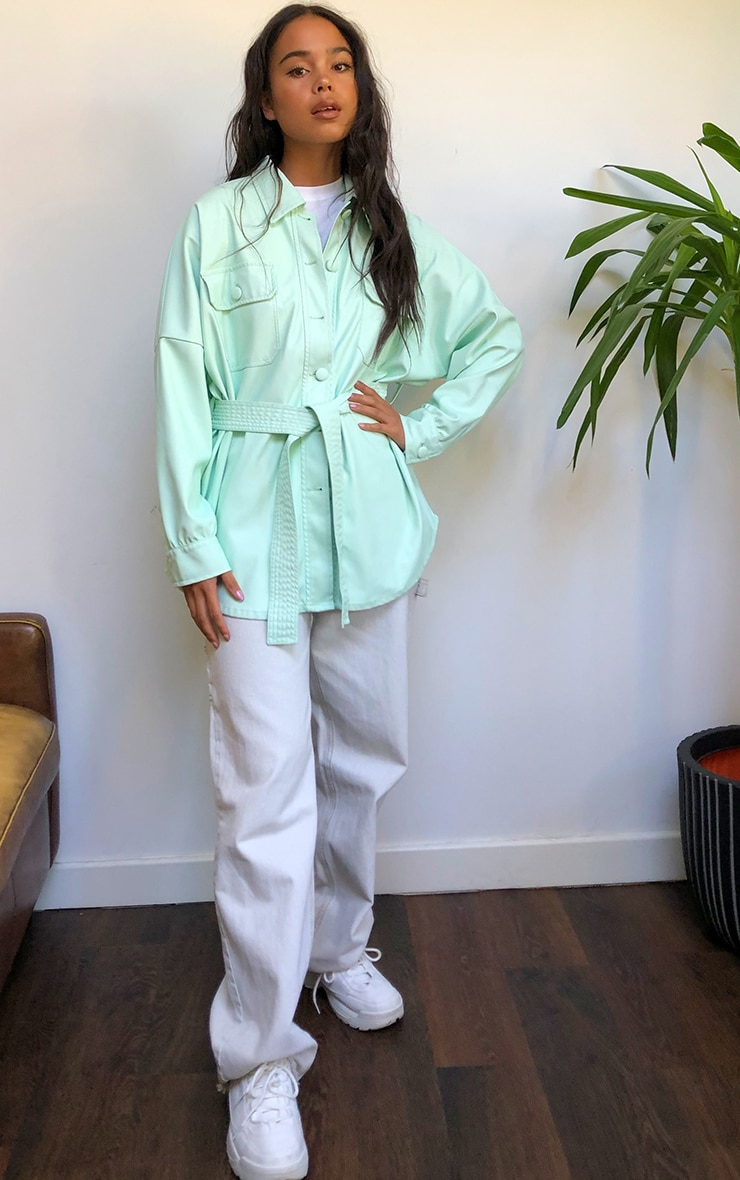 Mint Pu Long Line Dipped Hem Belted Shacket 3
