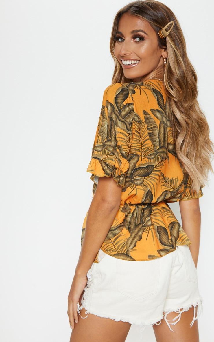 Orange Floral Printed Chiffon Plunge Short Sleeve Blouse 2