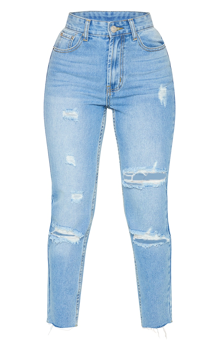Petite Light Wash Distressed Mom Jeans 5