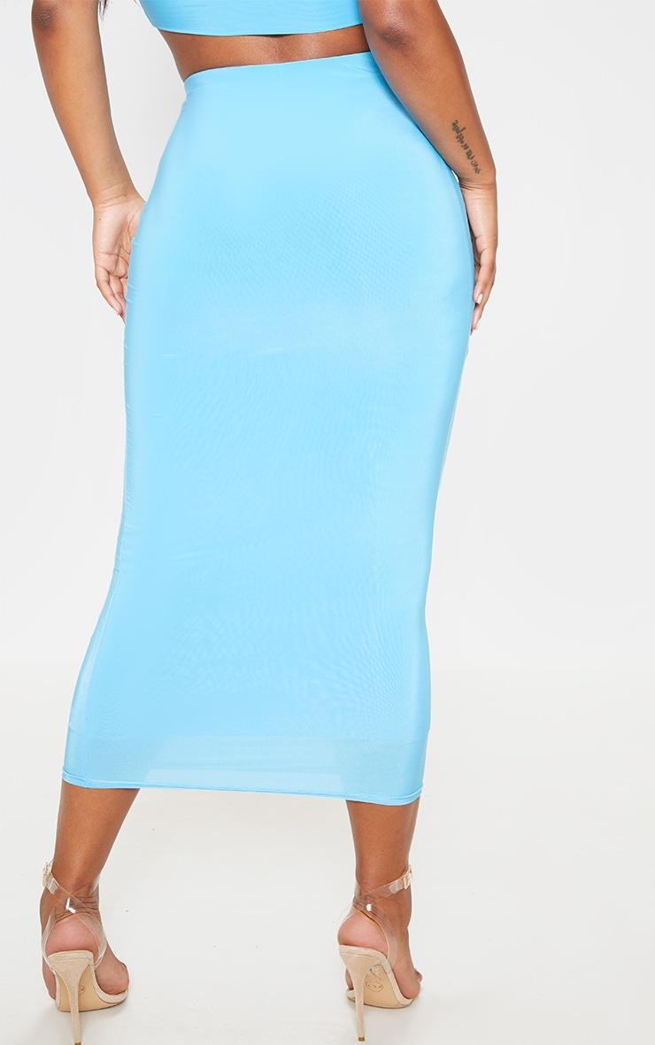 Aqua Second Skin Slinky Longline Midi Skirt 4