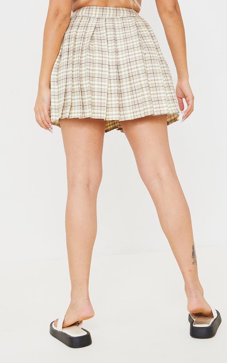 Petite Stone Woven Check Tennis Skirt 3